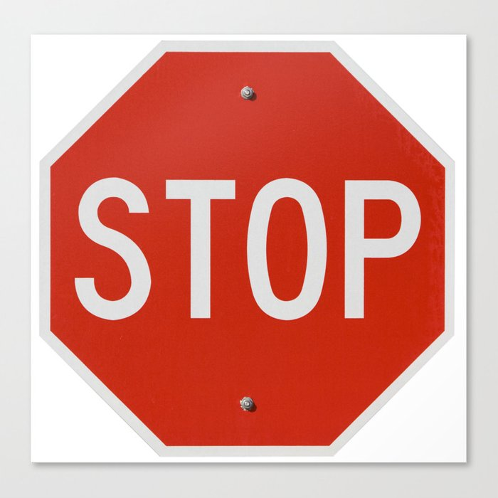 Red Traffic Stop Sign Canvas Print