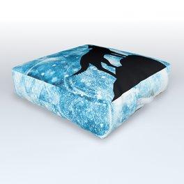 Howling Winter Wolf snowy blue smoke Outdoor Floor Cushion