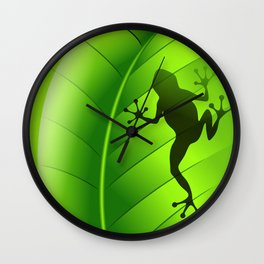 Frog Shape on Green Leaf Wall Clock