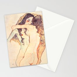 "Egon Schiele ""Two women embracing"" Stationery Cards"