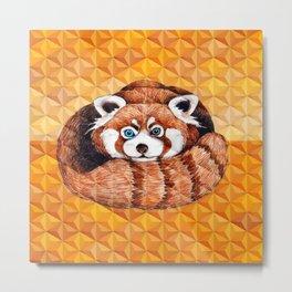Cute Red Panda Bear Orange Cubism Geometric Metal Print