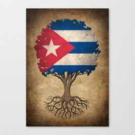 Vintage Tree of Life with Flag of Cuba Canvas Print