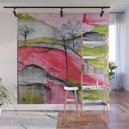 Pink Landscape. Color of Japan. Original Painting by Jodi Tomer. Abstract Artwork. Wall Mural