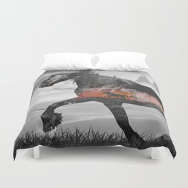 Black Horse Sunset Run Duvet Cover