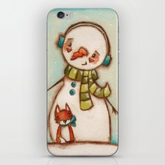 Fox and Friend - Snowman and Fox in the snow iPhone & iPod Skin