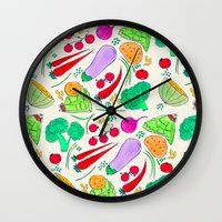 vegetables Wall Clocks featuring Vegetables! by Niche Drawings