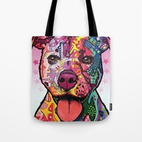 rottweiler Tote Bags featuring Rottweiler Dog by trevacristina