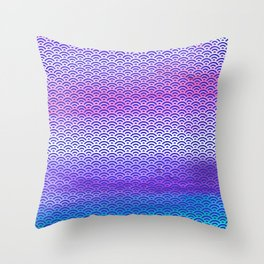 Candy Pop/Navy Blue Watercolor Seigaiha Pattern Throw Pillow