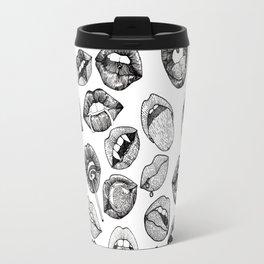 Hand Drawn Luscious Lips in Black and White Travel Mug