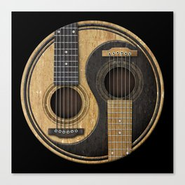 Aged Vintage Acoustic Guitars Yin Yang Canvas Print