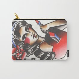 Girl with The Dagger through the Heart Tattoo Flash Watercolor Carry-All Pouch