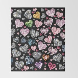 Heart Diamonds are Forever Love Black Throw Blanket