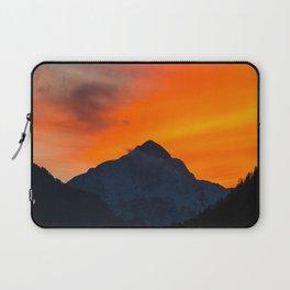 Stunning vibrant sunset behind mountain Laptop Sleeve