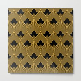 Art Deco Pattern in Gold and Jet Black Metal Print