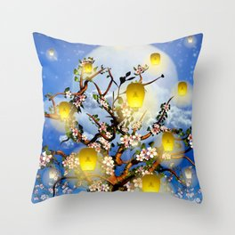 Cherry tree blossom garden with yellow lanterns and moonlight Throw Pillow