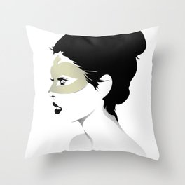 Girl Wearing a gold Mask Throw Pillow
