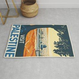 Vintage Travel Poster Palestine Painting Rug