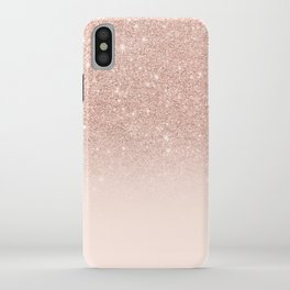 Rose gold faux glitter pink ombre color block iPhone Case
