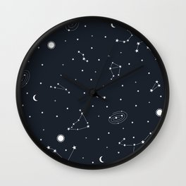 Air - Night Sky Illustration Wall Clock