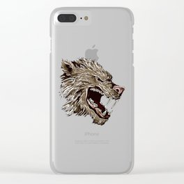 Head with fangs,white lines,stylize Clear iPhone Case