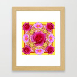 Fuchsia Pink Rose Patterns Sunflower YellowFloral  Art Framed Art Print