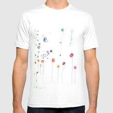 Floral Fall White Mens Fitted Tee MEDIUM