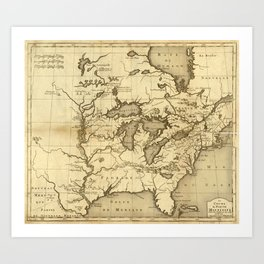 Great Lakes Map - 1737 Art Print