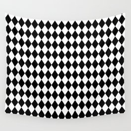 Classic Black and White Harlequin Diamond Check Wall Tapestry
