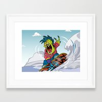 snowboarding Framed Art Prints featuring Snowboarding by Brain Drain Fox
