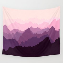 Mountains in Pink Fog Wall Tapestry