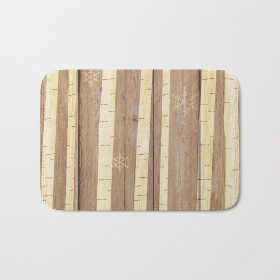 Christmas Pattern on Wood 03 Bath Mat