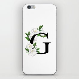 Letter 'G' Gardenia Flower Monogram iPhone Skin