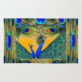 BLUE PEACOCKS  GOLDEN FEATHER DESIGN PATTERNS GN Rug