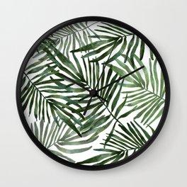 Watercolor simple leaves Wall Clock