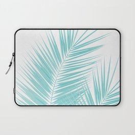 Soft Turquoise Palm Leaves Dream - Cali Summer Vibes #1 #tropical #decor #art #society6 Laptop Sleeve