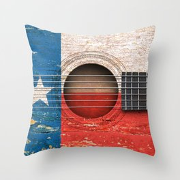 Old Vintage Acoustic Guitar with Texas Flag Throw Pillow