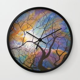 Space Tree Galaxy Painting Orion's Nebula Original Art (Dust in the Wind) Wall Clock