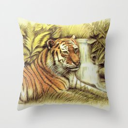 Tiger in free Wilderness Throw Pillow