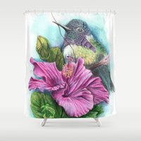 hibiscus Shower Curtains featuring Hibiscus by Maria Trillidou