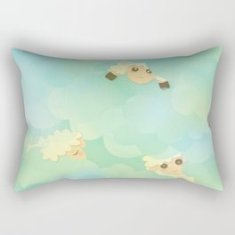 Heavenly Baby Sheep I - Mint Green, Baby Blue Colors Sky Background Rectangular Pillow