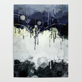 Modern Indigo Eclipse Abstract Design Poster