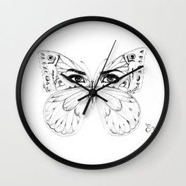 woman butterfly  black and white Wall Clock