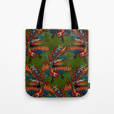 rooster ink green Tote Bag
