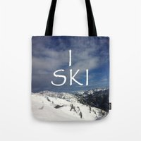 ski Tote Bags featuring I SKI by BACK to THE ROOTS