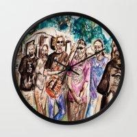 grateful dead Wall Clocks featuring Dark Star Orchestra Grateful Dead Painting by Acorn