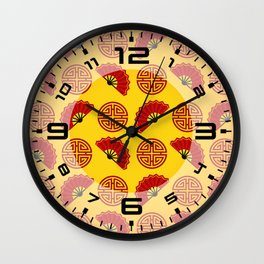 Chinese red gold 2 Wall Clock