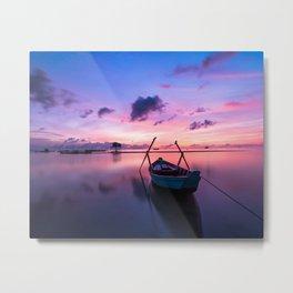 Boat and Sunrise Metal Print