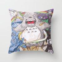 miyazaki Throw Pillows featuring Miyazaki Mash-Up by Loveless D. Grim