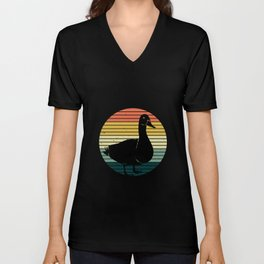 Vintage Sunset And Duck - Duck Unisex V-Neck