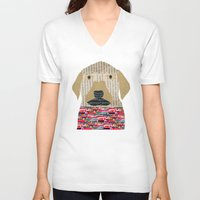 labrador V-neck T-shirts featuring the labrador by bri.buckley